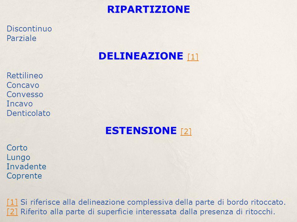 RIPARTIZIONE DELINEAZIONE [1] ESTENSIONE [2] Discontinuo Parziale